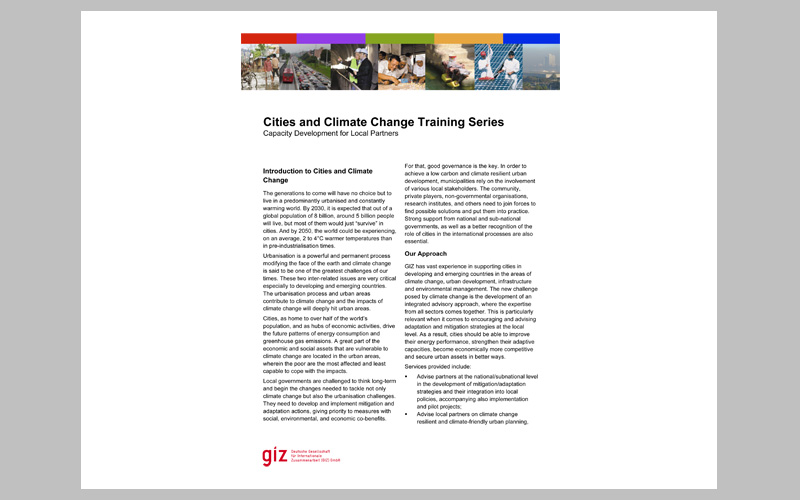 Cities and Climate Change Training Series